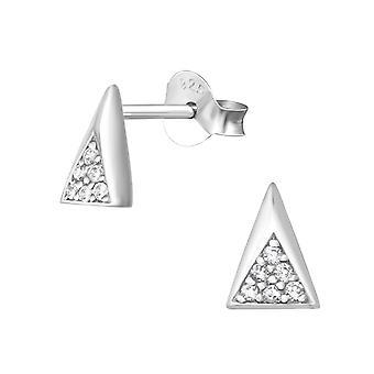 Треугольник - 925 стерлингового серебра кубического циркония уха шпильки - W36136x