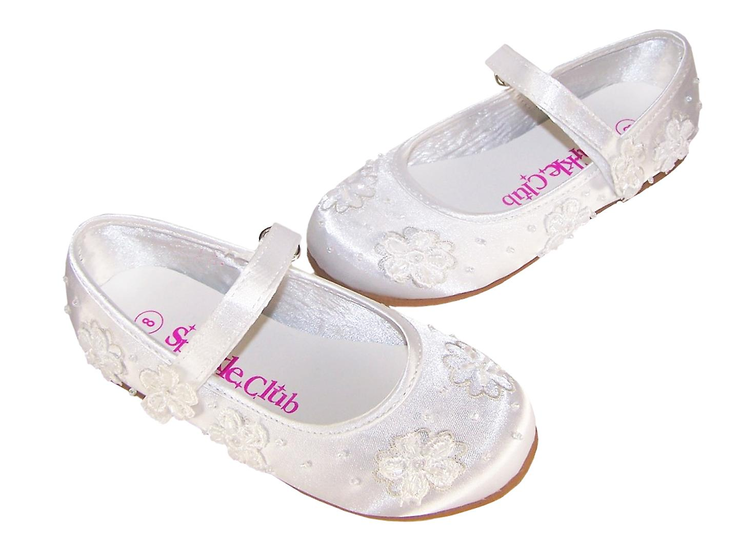 Girls white satin flower girl and bridesmaid ballerina shoes