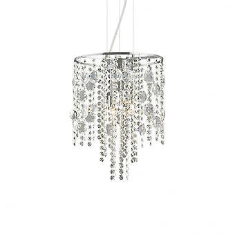 Ideal Lux Evasione Elegant Chrome And Crystal Diamante Ceiling Pendant 4 Light