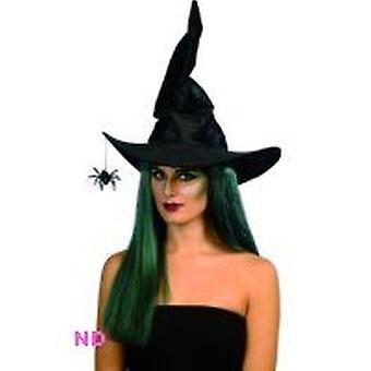 Witch's hoed zwart velours met hangende Spider