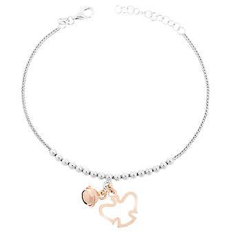 Orphelia Silber 925 Armband mit Charm White/Rose 18 + 2 Cm ZA-7111