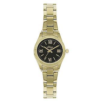 s.Oliver Damen-Armbanduhr Analog Quarz IP Gold SO-15113-MQR