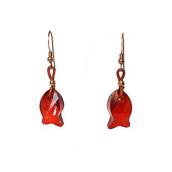Gemshine Ohrringe Fisch Rot Vergoldet MADE WITH SWAROVSKI ELEMENTS®