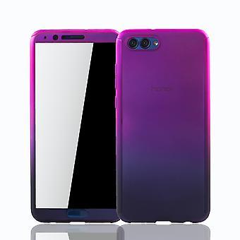 Huawei Honor View 10 Handy-Hülle Schutz-Case Cover Panzer Schutz Glas Pink / Violett