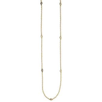 Necklace necklace 925 sterling silver gold plated 7 cubic zirconia 47 cm chain