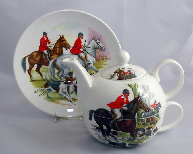 English Bone China Tea for One Hunting