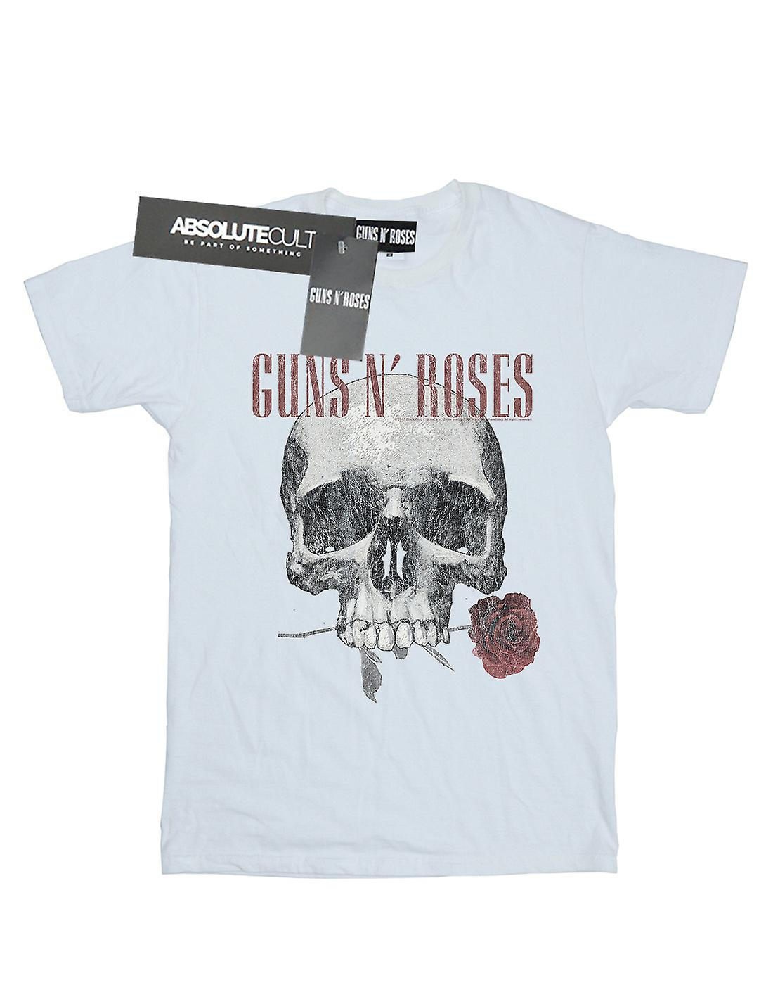 Guns N Roses Women's Flower Skull Boyfriend Fit T-Shirt