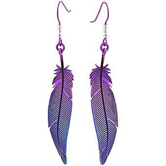Ti2 Titanium Wald Feather Ohrringe - lila