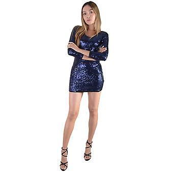 Lovemystyle lange mouwen korte blauwe pailletten jurk