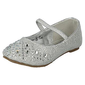 Spot de filles sur bande élastique Diamante détail Glitter Flats