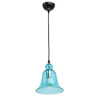 Glasberg - ciondolo singolo regolabile In nero con paralume in vetro blu 720010401
