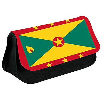 Grenada Flag Printed Design Pencil Case for Stationary/Cosmetic - 0068 (Black) by i-Tronixs