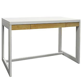 Büroarbeitsplatz / Computer-Schreibtisch mit Schublade - weiß / Kernholz