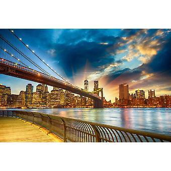 Tapet väggmålning Manhattan solnedgång