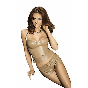 Lidenskap undertøy Verona grå faux skinn bryster & shorts sett
