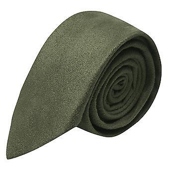 Luxe donker olijf groen Suede stropdas