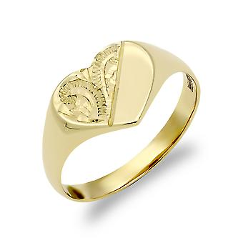 Jewelco London Ladies Solid 9ct Yellow Gold Diamond Cut Love Heart Signet Ring