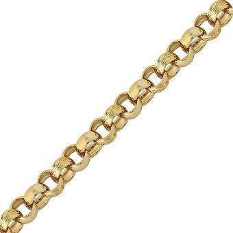 Jewelco Londres latón sólido con patrón y llano Belcher 9mm cadena collar pulsera