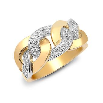 Jewelco London Men's Solid 9ct Yellow Gold Pave Set Round H I1 0.36ct Diamond Curb Chain Link Chunky Ring 12mm
