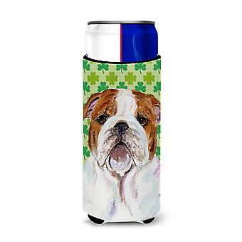 Bulldog English St. Patrick's Day Shamrock Portrait Ultra Beverage Insulators fo