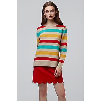 Louche Morgane Rainbow Stripe Step Hem Jumper