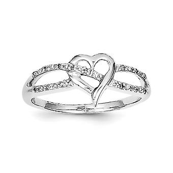 925 Sterling Silver Polished Rhodium-plated Rhodium Plated Diamond Heart Ring - Ring Size: 6 to 8
