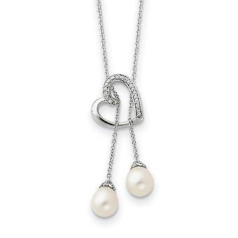 925 Sterling Silver Polished Spring Ring Freshwater Cultured Pearl CZ Cubic Zirconia Simulated Diamond Love Heart Lariat