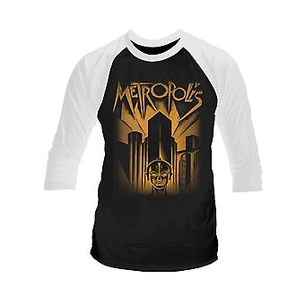 Metropolis T Shirt Metropolis Movie Official Mens Black 3/4 Sleeve Baseball