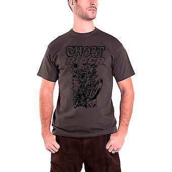 شبح رايدر تي قميص الدراجة الجمجمة رايدر الرسمية الرجال الظلام رمادي الأعجوبة كاريكاتير
