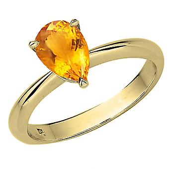 Dazzlingrock Collection 14K 9X7mm Pear Cut Citrine Ladies Solitaire Bridal Engagement Ring, Yellow Gold
