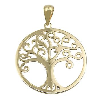 Pendant 20mm arborvitae shiny 9Kt GOLD