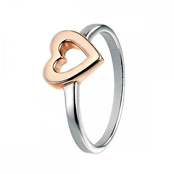 Elements Silver With Rose Gold Open HeartRing R3461