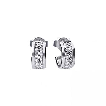 Diamonfire Silver White Zirconia Half Creole Earrings E5606