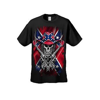 Men's Camiseta Confederada Bandera Rebelde Cowboy Skeleton Grim Reaper Camiseta - Logotipo en Frente