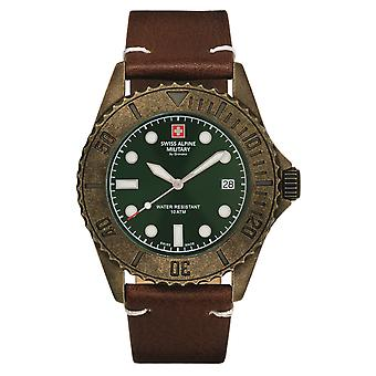 Reloj militar alpino suizo reloj analógico de cuarzo vintage 7051.1584SAM cuero