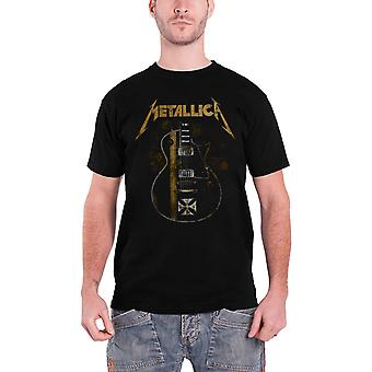 Camiseta Metallica Hetfield Cruz guitarra banda logotipo oficial Mens novo preto