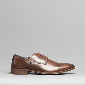 Silver Street London Saxon Mens Leather Derby Shoes Brown