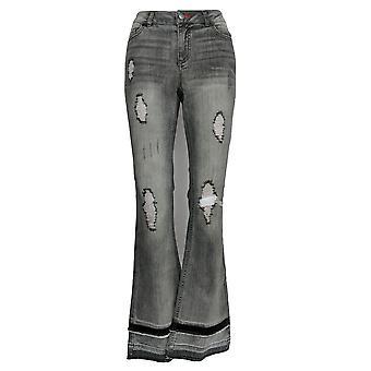 Peace Love World Women's Jeans 5-Pocket Layered Hem Black A310626