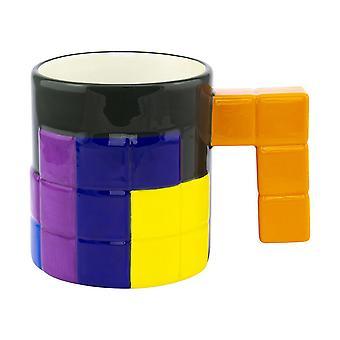 Tetris cup 3D rakennuspalikoita tummanvihreä/valkoinen/monivärinen, 100% keraaminen, tilavuus n. 400 ml.