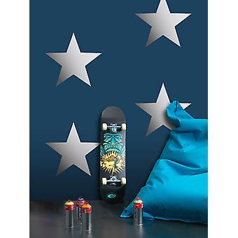 Metallic Stars behang Navy/zilver Rasch 248173