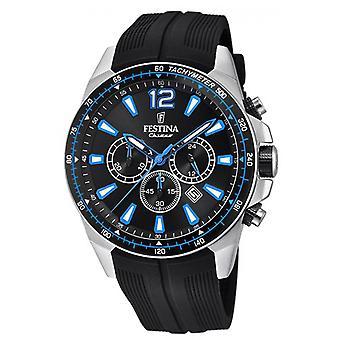 Festina Armbanduhr originale F20376-2 - Uhr Chronograph Datum schwarzen Mann