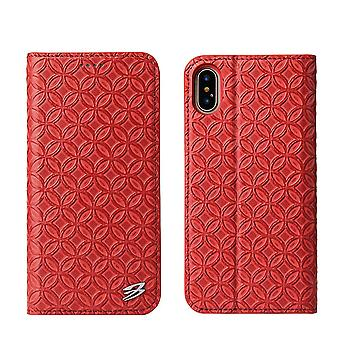 Til iPhone XS, X Tegnebog sag, Fierre Shann Kobber Coin Ægte Læder Cover, Rød
