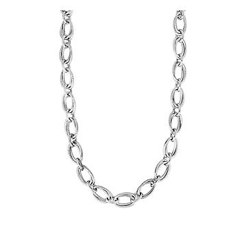 925 Sterling Silver Rhodium 9mm Shiny Double Ovaler Necklace Lobster Clasp Remove Pg Tag From Clasp Jewelry Gifts for Wo