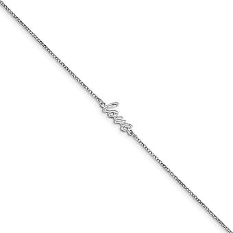 1.5mm 925 Sterling Argent Rhodium plaqué Polished Love With 1inch Ext. Anklet 9 Inch Jewelry Gifts for Women