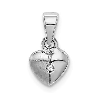 925 Sterling Silver Rhodium plated for boys or girls Brushed Love Heart CZ Cubic Zirconia Simulated Diamond Pendant Neck