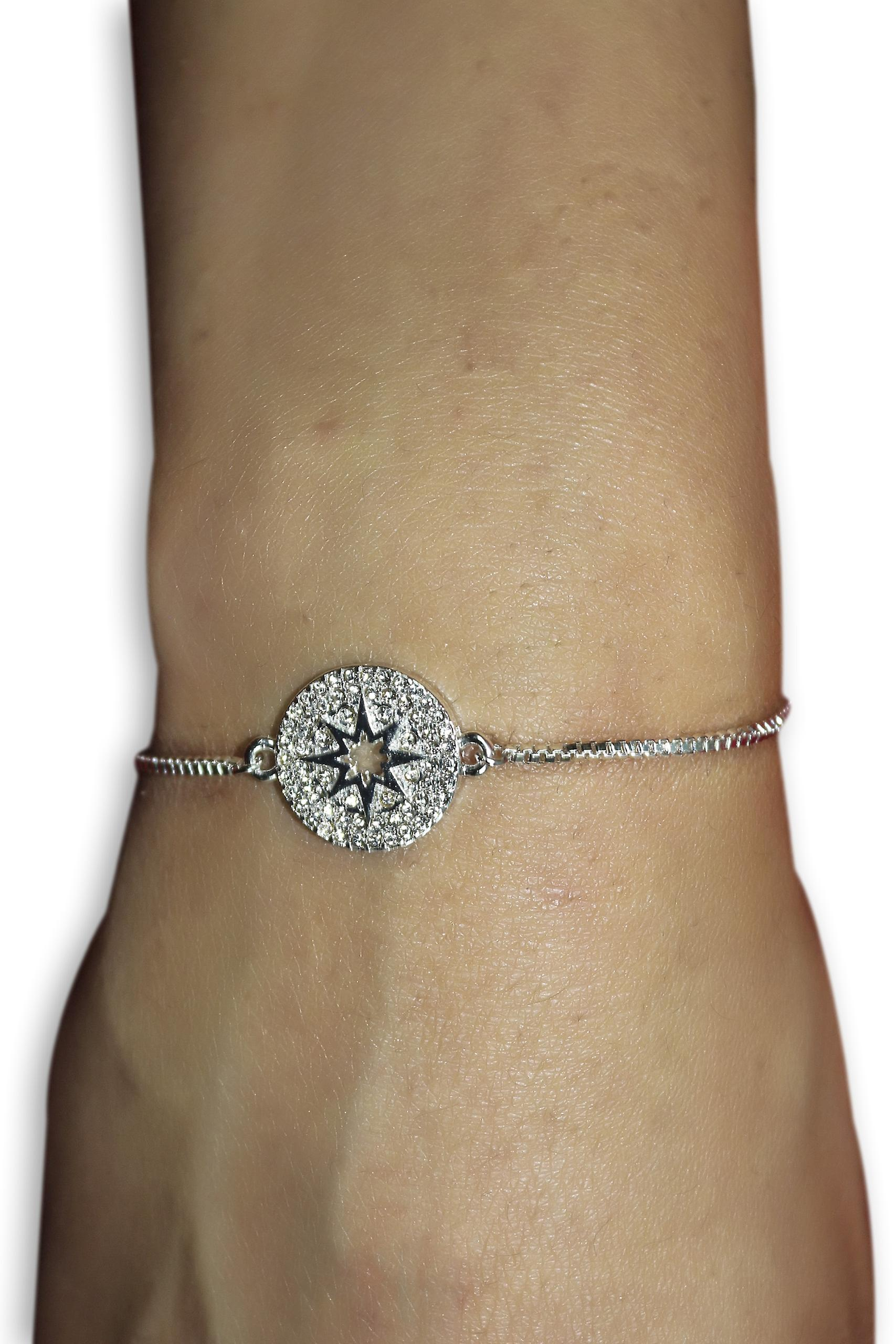 Silver Disc Bracelet with Diamante Stones