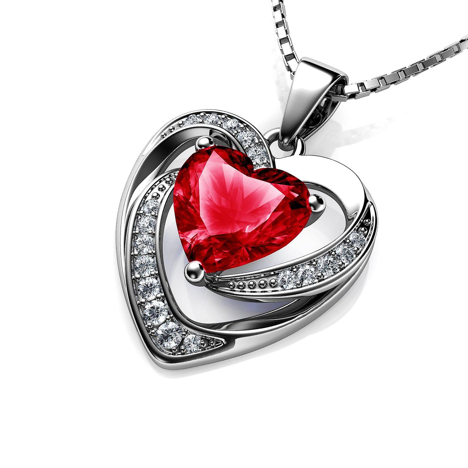 Dephini red heart necklace 925 sterling silver cz pendant red crystal