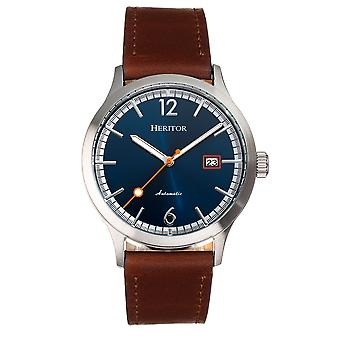 Heritor Automatic Becker Leather-Band Watch w/Date - Silver/Navy