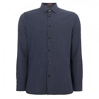 Ted Baker Offme LS Geo Stampato Camicia Marina