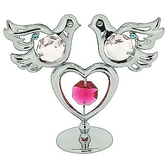 Crystocraft Symbolic Doves & Love Heart Freestanding Silver Plated Ornament Made With Swarovski Crystals